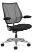Ergolab Liberty Adj arms polished aluminium frame black seat