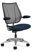 Ergolab Liberty Adj arms polished aluminium frame blue seat