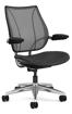 Ergolab Liberty Adj arms polished aluminium frame black leather seat